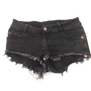 Brandy Melville Gray Distressed Denim Shorts SZ 40